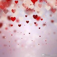 Wholesale White Vinyl Backdrops - 5x7ft Vinyl Valentine Red White Love Heart Photography Studio Backdrop Background