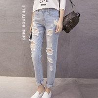 Wholesale Hole Tear Sexy - Wholesale- 2016 Make BF Wind Easing Do Old Hole In Han Edition Torn Jeans Female Beggar Nine Minutes of Pants Feet sexy Pants women clothes