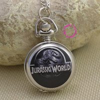 Dress Men's Quartz Wholesale-cute jurassic world dinosaur pocket watch necklace girl ladies good quality lady girl kid women mirror fob watches antibrittle