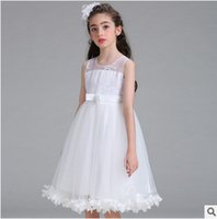 Wholesale Mesh Hem Dress - Kids wedding party dress girls embroidery flowers bows sashes bridesmaid dress children floral hem mesh gauze dress girls Ball Gown C1037