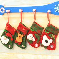 Wholesale bear christmas stocking - 10*17cm Mini Christmas Socks Stockings Party Xmas Tree Decoration Santa Claus Deer Bear Snowman Candy Gift Bag Decor Festival Ornament