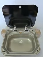 Wholesale Boat RV Caravan Camper Rectangular Stainless Steel Hand Wash Basin Kitchen Sink with Toughened Glass Lid GR