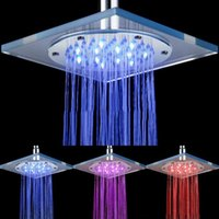 Wholesale Square Waterfall Glass - Waterfall Shower Head Glass Faucet Temperature Sensing Colorful LED Lamps Modern Square Bathroom Tap Shower Chrome LED Rainfall