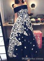 Wholesale Sexy Elegant Jackets For Dresses - Elegant 2017 Off Shoulder Black Prom Party Dresses With White Lace Appliques Plus Size A Line Evening Occasion Gowns For Arabic Women Vestid