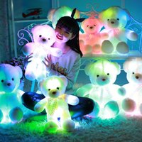 Wholesale Valentine Day Pillows Wholesale - Glowing Teddy Bear Creative Colorful Large Hold Bears Soft Plush Pillow Toy For Valentine Day Birthday Gift High Quality 109ak I1
