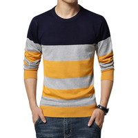 O-Neck spelling computer - High Quality Brand Men s Sweater Winter New Men s Fashion Spell Colored Pull Homme Round Collar Slim Striped Knit Pullover Men