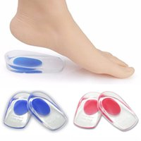 Wholesale Label Charms - 10 Pairs Soft Silicone Increase Heel Support Pad Cup Gel Shock Cushion Orthotic Insole Plantar Care Half-height