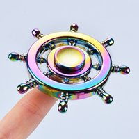 Wholesale Steering Spinners - 2017 Boat Rudder Copper Rainbow Hand Spinner Edc Decompression Toy Helmsman Fidget Spinner Steering Wheel Design Fidget Toy OTH458