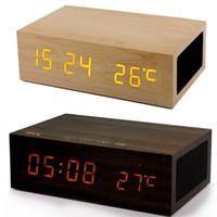 reloj despertador cargador inalámbrico al por mayor-Altavoz de madera original del despertador de W1 Bluetooth con la exhibición de la temperatura de tiempo Cargador dual USB W2 QI altavoz de madera estéreo inalámbrico bluetooth