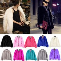 Wholesale Hot Pink Faux Fur Coat - Hot Sales Women Lady Warm Faux Fur Outerwear Coats Open Stitch Winter Warmers Parka Jacket Collar 4 Sizes Dx100 Free Shipping