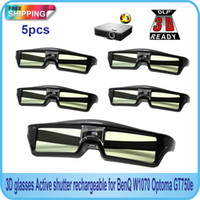 Wholesale Wholesale Optoma Projectors - Wholesale- Free Shipping!!5PCS Active shutter 144Hz 3D Glasses For Acer BenQ Optoma View Sonic Dell DLP-Link Projector