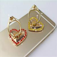 Wholesale Diamond Mounts - Love Metal Ring Bracket 6 Colors Cell Phone Mounts Lover Holder Romantic Gift Exquisite Diamonds Bracket