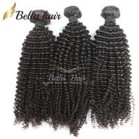 doğal renk insan saçı örgüleri toptan satış-Brezilyalı Saç Sapıkça Kıvırcık Bakire Insan Saçı Örgüleri Uzantıları Demetleri Sınıf 7A 3 adet lot Doğal Renk Küçük Kıvırmak Bellahair