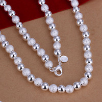 Wholesale Vintage Glass Beads Necklace - Wholesale- 2017 hot women men 925 sterling silver jewelry silver necklace Frosted glass beads vintage choker necklaces colliers perles N086