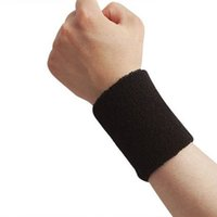 Wholesale Wholesale Sports Cloths - Wholesale- 2 Piece Sports Wristband Brace Wrap Bandage Gym Running Sport Sweat Band Safety Wrist Support Badminton Terry Cloth Cotton
