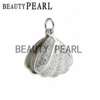 Wholesale Round Shell Pendants - Clear Cubic Zirconia Pave Studded 925 Sterling Silver Round 8-9mm White Freshwater Pearl Pendant Shell-shaped Pendant