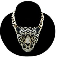 Wholesale united states sweaters - women sweater accessories sweater chain Europe and the United States Hot Fashion Leopard Head Necklace Jewelry long section necklace