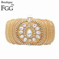 Women's Vintage Golden Chains Crystal Patchwork Black Satin Evening Clutches Purse Party Cocktail Beaded Handbags Clutch Bag