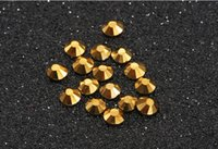 Wholesale Hotfix Rhinestone Sets - Super shiny golden 1440pc set SS3-SS30 Crystal Glass AA Nail Art Rhinestones Flat gray Non Hotfix Glue on Nails art decorations