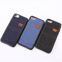 iphone cases kovboy toptan satış-Kovboy Case Arka iPhone 7 Için 6 Artı Kart Yuvası Ile Çevirme Kapaklı Cep Telefonu Jean Bez TPU Kılıfları Iphone 5 Için