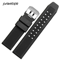 Rubber black metal watches for men - JAWODER Watchband Soft Silicone Rubber Men Black mm Sport Diving Watch band Strap Silver Black Metal Buckle For Luminox Accessories