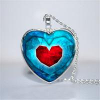 Wholesale Zelda Glass - 10pcs lot Piece of Heart Pendant, Legend of Zelda Inspired Heart Necklace Glass Photo Cabochon Necklace
