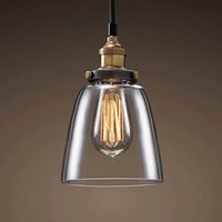 Wholesale Clear Glass Ceiling Chandelier - Industrial Retro Loft Clear Glass Pendant Light Close to Ceiling Lamp Chandelier for Hotel Bedroom Living Room Kitchen Transparent Fixture