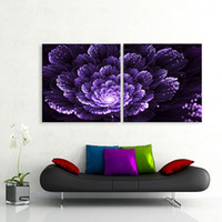 Wholesale Oil Painting Flower Purple - Led Canvas Wall Art Purple Flowers Painting LED Flashing Optical Arts Prints Stretched Canvas Set Illuminated Pictures