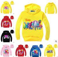 Wholesale Kids Black Hooded Sweater - Trolls Cartoon Hoodies Children Costume Sweatshirts Girls' Movie Poppy Girls Terry Cotton Topwear Kids Long Sleeve Sweater Boys Outerwear