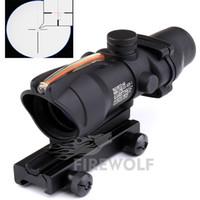 Wholesale Tactical Rifle Scope Fiber - 4x32 ACOG Style Optical Tactical Scope W  Green Fiber Crosshair reflective coating Weaver Riflescopes Combat Gunsight For Hunting