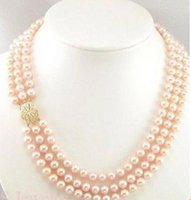 Wholesale South Sea Pearls Strands Round - Classic triple strands 9-10mm round south sea pink pearl necklace 18 inch 19 inch 20inch 14k gold clasp