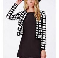 Wholesale Cropped Blazer Jacket - Women Vintage plaid crop coat short jacket long sleeve outwear non-button casual casaco feminine casaco jacket tops CT713