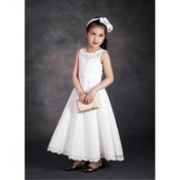 Wholesale baby korean summer clothing resale online - Summer Kids Girls Lace Dresses Baby Girl Princess Wedding Dress Babies Korean Party Dress childrens clothing