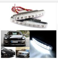 Wholesale Head Lights Daytime - Free shipping 4PCS 8 LED Universal Car Light DRL Daytime Running Head Lamp Super White Color
