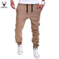 Wholesale Men Leisure Pants - Wholesale-2016 New Fashion Men Cross Pants Tether Casual Loose Jogger Pants Solid Leisure Men Sweatpants Joggers M-3XL