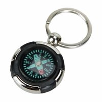 Wholesale Mini Keychain Ring - Wholesale-1Pcs Mini Portable Pocket Compass Sports Keychain Ring Compass Outdoor Camping Hiking Metal Precise Smalll Compass Wholesale