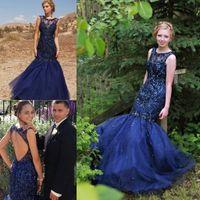 Wholesale Chiffon Vestidos Festa - Elegant Navy Blue Prom Party Dresses 2017 Crew Neck Lace Appliques Beaded Backless Elegant Vestidos De Festa Evening Occasion Gowns Cheap