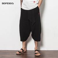 Wholesale Wide Leg Pants Skirt - Wholesale- New 2017 Summer Men Short Harem Pant Comfortable Loose Chinese Casual Pants Men Wide Leg Skirt Pants Trousers Plus Size M-4XL