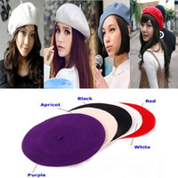 Wholesale French Beret Men - Wholesale-Hot Fashion Wool Warm Women Felt French Beret Beanie Newsboy Berets Tam Hat Cap