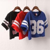 Wholesale Letter Navel - 2016 fashion Number 36 Print t shirt Hot Crop Top women summer Exposed navel Hip Hop Tees shirt Casual Short Sleeve T-Shirt A851