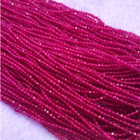 "Wholesale Ruby Faceted Necklace - Natural Genuine AAA High Quality Purple Red Ruby Hand Cut Faceted Round Loose Small Beads DIY Necklaces or Bracelets 2mm 15"" 04313-R"