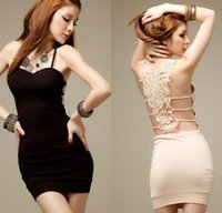 Wholesale Tight Black Bandage Skirt - women Summer Bodycon Dress lace bandage sleeveless vest dress sexy tight skirt with shoulder-straps belt render package buttocks short dress