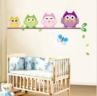 baykuş oda dekoru toptan satış-Çocuklar için 4 Baykuşlar Kelebek Duvar Çıkartması Sticker Kreş Bebek Odası Dekor Vinil B lxl