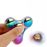 Wholesale Tri Suits - Colorful Rainbow Hand Spinners Tri Fidget Spinner Toys For Relieving Stress Aluminum Finger Toy Suit For Kids And Adults