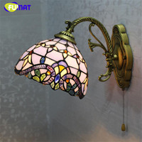 Wholesale Living Room Baroque Style - FUMAT Tiffany Stained Glass Wall Lamp European Style Baroque Purple Light For Living Room Wall Mirror Corridor Bedside Wall Lights