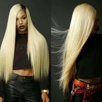 Wholesale Lace Front Kanekalon Wig Blonde - Ombre Blonde Straight Hair Wigs Kanekalon Synthetic Natural Ombre Blond Lace Front Wig For Women African American Wigs