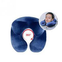 aufblasbarer reisekissenhals großhandel-6 Farben faltbare Reise-Luftkissen-aufblasbares U-Form-Nackenkissen PVC, das Büro-Auto-Flugzeug schläft, tragbares Kissen schläft