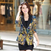 Wholesale Ladies Blazers Free Shipping - Free shipping New 2017 Spring Blazer women Fashion Temperament printing Suit One Button Slim Ladies Blazers Work Wear Jackets
