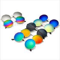Wholesale Eyeglasses Vintage Retro - Unisex Mirror Sunglasses Retro Reflective Sunglasses Fashion Designer Eyeglasses Round Vintage Glasses UV400 Outdoor Frog Sunglasses B1612
