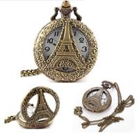 vintage kadın kolye kolye toptan satış-Vintage hollow Effiel Kulesi cep saatleri Oyma Paris kulesi bayan kolye Erkekler kuvars Fob izle Bronz zincir kolye hediye saatler